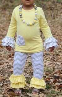 long sleeve shirt with double ruffle chevron with matching chevron pants girls outfit on Etsy, $35.00
