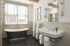 As the Tile Turns - Crested Butte Crush This small lodge project could easily be replicated in your own bathroom at home! Belgian Bluestone and @Pratt & Larson tile available at Decorative Materials, Denver, Aspen, and Vail.