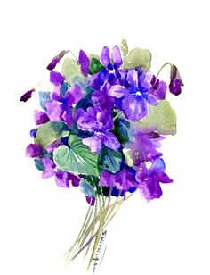 Violets, Original watercolor painting, purple flowers, wild flowers floral art, floral painting, purple blue room design floral decor by ORIGINALONLY on Etsy