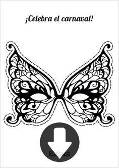Máscara de Carnaval Mariposa para imprimir y colorear