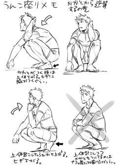 En cunclillas (siempre me preguntaba en los animes que se ponen asi, ¿mucho equilibrio deben hacer? No es dificil pero si incomodo tener toda la planta del pie en el suelo