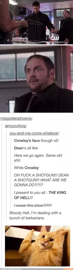 """Did NOBODY watch the Doctor Who episode where Crowley is an FBI agent and shoots a blasted Silence and says """"welcome to America"""""""