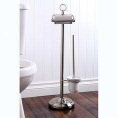 Vintage Free Standing Pedestal Toilet Paper and Brush Holder
