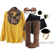 """Fall Fashion: Mustard & Black"" by taytay-268 on Polyvore"