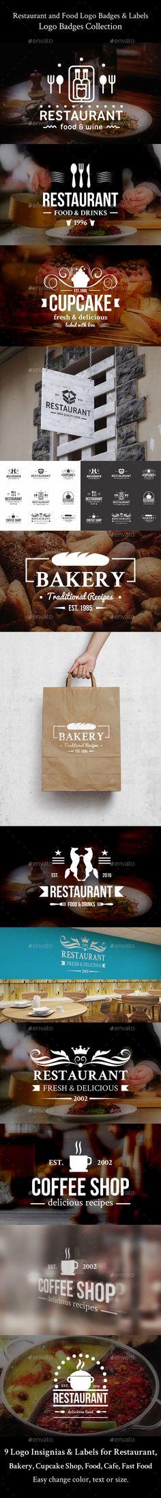 Restaurant and Food Logo Badges & Labels Design Template - Badges & Stickers Design Template Vector EPS, AI Illustrator. Download here: https://graphicriver.net/item/restaurant-and-food-logo-badges-labels/17404422?ref=yinkira