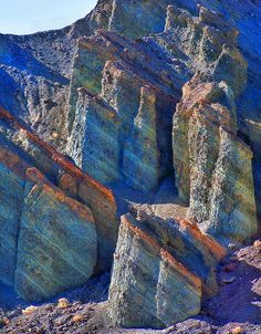colored strata at Death Valley National Park
