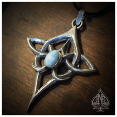 Celtic knot sterling silver pendant with larimar - Scáthach special edition by MissNebel on Etsy