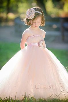 Blush Flower Girl Tutu Dress with Flower Sash by littledreamersinc
