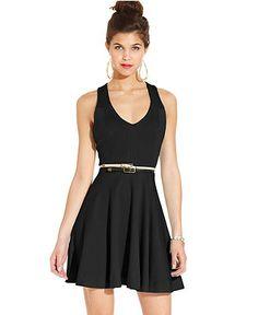 XOXO Juniors Dress, Sleeveless Belted Skater - Juniors Dresses - Macy's