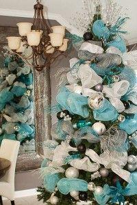 Como decorar un arbol de Navidad Azul Plata y Blanco | Curso de organizacion de hogar aprenda a ser organizado en poco tiempo