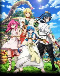 Tags: Official Art, MAGI: The Labyrinth of Magic, Aladdin (Magi), Ali Baba Saluja, Morgiana, Ren Hakuryuu, Team Zagan