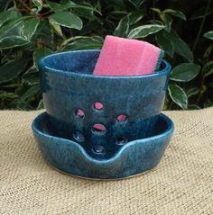 Sponge, dishcloth, scrubby holder drainer hand thrown pottery ceramic small berry bowl