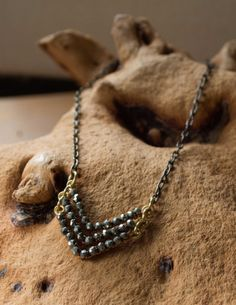 Pyrite Triple Chevron Necklace by CatMHorn on Etsy, $80.00