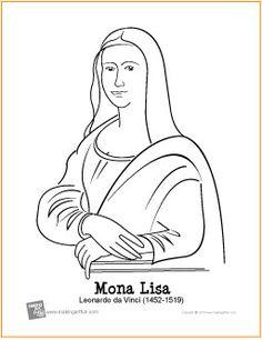 Mona Lisa (da Vinci)   Free Printable Coloring Page