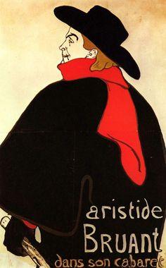 Henri de Toulouse-Lautrec Aristide Bruant in his cabaret Poster) Henri De Toulouse Lautrec, Art Nouveau, Art Deco, Belle Epoque, Cabaret, The Kiss, Art Gallery, Art Design, Graphic Design