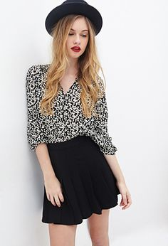 Abstract Heart Print Blouse | FOREVER21 - 2000100640