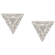 Lizzie Mandler Fine Jewelry 'Trillion' diamond pave stud earrings (€3.730) ❤ liked on Polyvore featuring jewelry, earrings, accessories, brinco, jewelry - earrings, metallic, lizzie mandler jewelry, lizzie mandler, pave diamond earrings and metallic jewelry