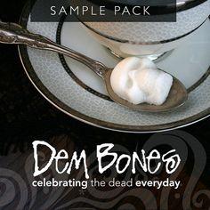 A sweet Sugar Cube Skull:  Sample Pack by dembones on Etsy, $10.00 - love their 'Dem Bones' motto!