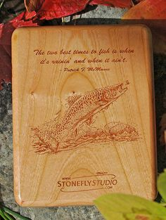 Stonefly Studio Cherry Wood River Map Fly Box Back with an Inscription and Brown Trout Artwork