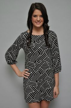 Black and White Print Dress - Southern Flair Boutique