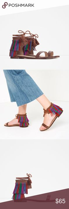 ZARA 100% Leather Fringe Flat Sandals Brand new with tags, never worn. Upper: 70% Goat Leather, 30% Buffalo Leather. Lining: 100% Cow Leather. Lace up closure. Multicolored Fringe detail. Zara Eur 39/ US 8. Cheaper on Ⓜ️, just ask :) Zara Shoes Sandals