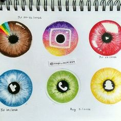 """Here's my new piece """"Social Iris"""". I posted previously a picture of… (Cool Art) Cute Disney Drawings, Kawaii Drawings, Cute Drawings, Drawing Disney, App Drawings, Drawing Sketches, Drawings Of Eyes, Iris Drawing, Drawing Eyes"""