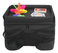 Ideal Backseat Car Organizer for Kids with Play Tray. I love that it has plenty of storage room within the organizer and also a play tray that the kids can use as a table.