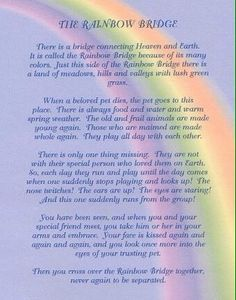 rainbow bridge poem printable | Beloved Pets who have ...