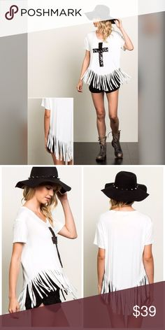 Sequin cross detail fringe top! We love this ❤️ Fringe rounded hem tunic with black sequin cross detail- mod meets festival! We love this look Tops Tunics