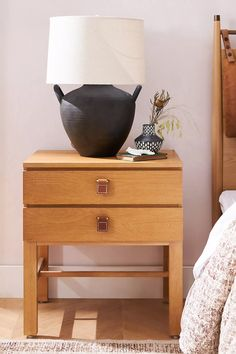 Amber Lewis for Anthropologie Sunfair Nightstand | Anthropologie Interior, Serene Bedroom, Home Furniture, Leather Texture, House Styles, White Oak Nightstand, Furniture Delivery, Nightstand, Leather Drawer Pulls