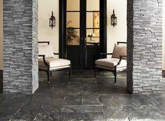 Niagra Split Face Quartzite Panel Ledger - x - 100028844 Outdoor Tiles Floor, Brick Look Tile, Quartz Tiles, Exterior Tiles, Slate Stone, Grey Slate, Slate Flooring, Amazing Decor, Floor Decor
