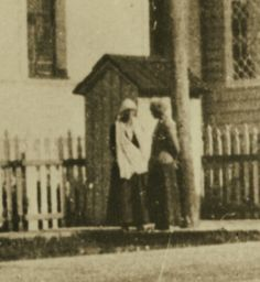 Two of the Grand Duchesses in front of the entrance of the Governor's Mansion at Tobolsk