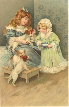 Vintage illustration of little girls and puppies; illustrator undocumented/unknown.