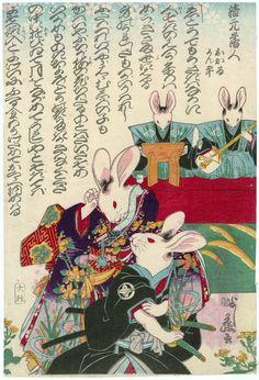 Rabbits as Okaru and Kanpei. Japanese, Meiji era, 1873 (Meiji 6), 4th month. Artist Utagawa Yoshifuji, Japanese, 1828–1889.