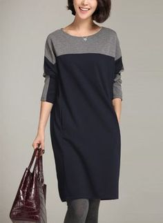 General Plus Tunic Gray Day Dresses Gray Polyester Casual Round Neckline  Shift Dress Long Sleeve Pockets Fall Color Block Winter M Knee-Length L XL  XXL ... 7130646949d