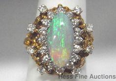 Natural Opal Diamond 18k Gold Gem Quality Massive 1960s Freeform Fashion Ring #FashionRightHandStatement
