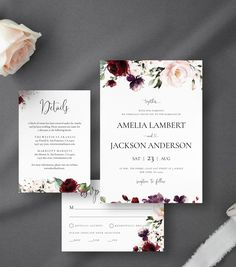 Burgundy Wedding Invitations with Watercolor Blush Roses & Greenery Details Card RSVP Card Envelope Liner Editable Template Rustic Wedding Menu, Wedding Menu Cards, Wedding Vintage, Burgundy Wedding Invitations, Wedding Invitation Suite, Invitation Kits, Invitation Templates, Online Print Shop, Wedding Couples
