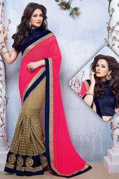 Ravishing Beige & Rani Pink #Saree