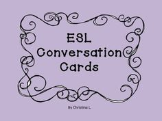 "These are 72 conversation cards for your ESL classroom. They can be used as a warm up activity and are a great way to get students settled in at the beginning of class. In addition, they can also be used as writing prompts. The topics include •""Getting to Know You"" • ""Food"" •""Your Neighborhood/ Housing"" • ""Free Time"" • ""Feelings/Emotions"" • ""The Past"" • ""Holidays"" • ""The Future"" • ""If…"" (Conditional)"