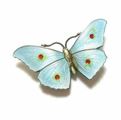 This is a stunning antique Edwardian Sterling Silver and enamel Butterfly brooch, hallmarked for Birmingham 1915. | eBay!