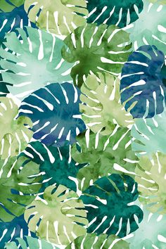 Tropical Watercolour by amanda_callcott - Hand painted watercolor monstera leaves on fabric, wallpaper, and gift wrap. Aqua, emerald, grass green, and lime green painterly watercolor monstera leaves.