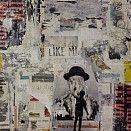 Schilderij 60x60cm EUR 1.050,- Mei 2015 Een jongetje staat voor een muur met aanplakbiljetten. Hij wil een statement maken. Mixed media en assemblage op papier. Dit werk hoort bij de serie 'Living on garbage'. De collages zijn opgebouwd met allerlei foto's, plaatjes en afbeeldingen die ik in de loop der jaren heb verzameld. Door de lagen over elkaar heen aan te brengen ontstaat een transparant effect, zoals alleen met aquarelverf mogelijk is. De eerste lagen zijn zichtbaar door de...