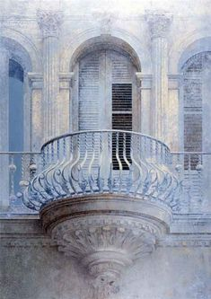 Balcony iced with.Balcony iced with. French Architecture, Architecture Details, Paris Architecture, Urban Architecture, Balcon Juliette, Bleu Pale, Juliet Balcony, Himmelblau, French Blue