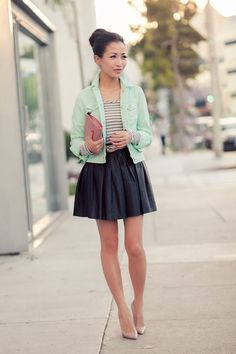 Minty :: Mint denim...love the jacket and it's color.
