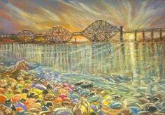 #pastel #painting #bridge #sunset