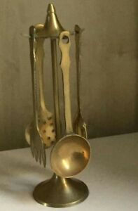 Vintage small Brass Utensils on Stand Standing Mirror, Utensils, Candle Holders, Miniatures, The Unit, Brass, Cleaning, Ebay, Vintage
