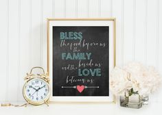 Bless the Food Before Us the Family Beside Us and the Love Between Us wall art, turquoise kitchen & home decor, chalkboard, digital print