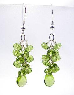 Green Peridot Cascade Chandelier Earrings Silver JMK by JMKJewelry