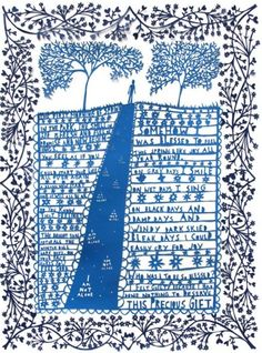 Rob Ryan - the small palette of colour is a nice touch it makes you focus on the point of interesting, the black pattern frames the blue nicely