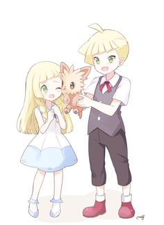 Lillie and Gladion with Lillipup